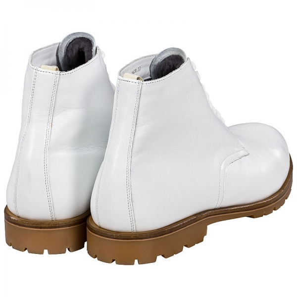 leather boots white