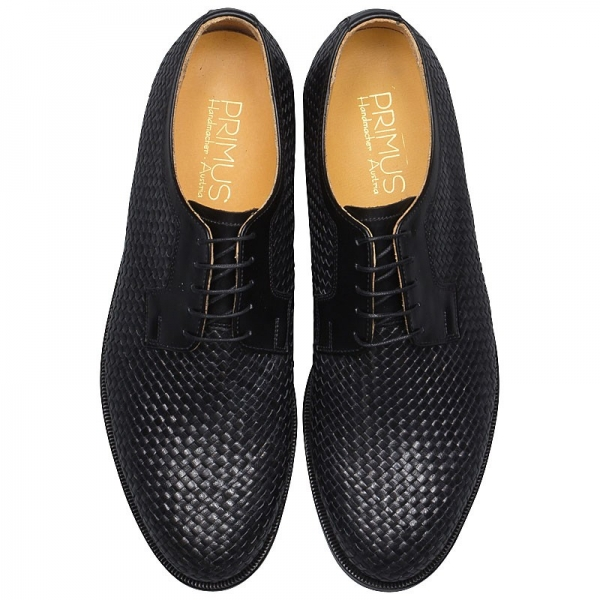 Handmacher men woven leather shoes