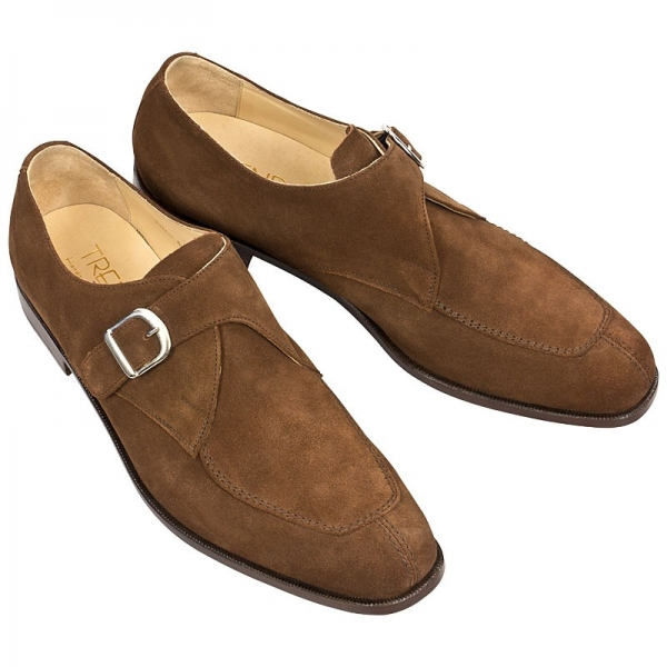 Handmacher brown suede monk strap shoes