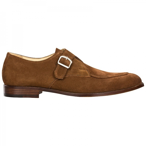 Handmacher brown suede monk strap