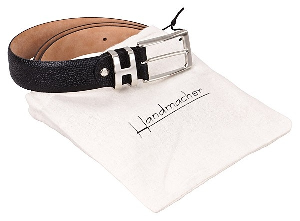 black leather belt by Handmacher