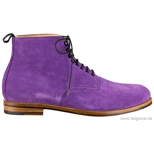 Handmacher men boots in purple suede