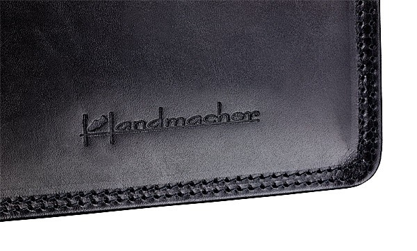handmade leather bag in black