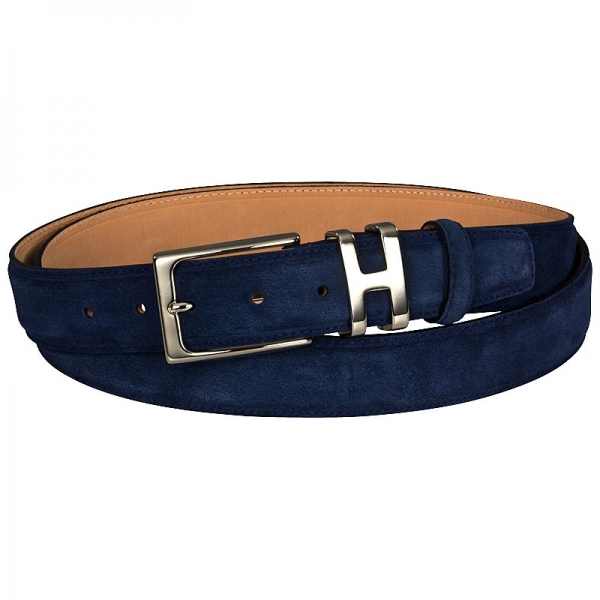 Handmacher belt blue suede