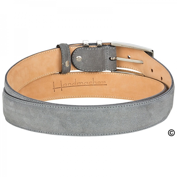 Handcrafted grey suede belt