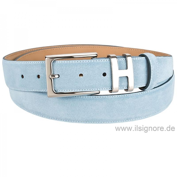 Handmacher light blue suede belt