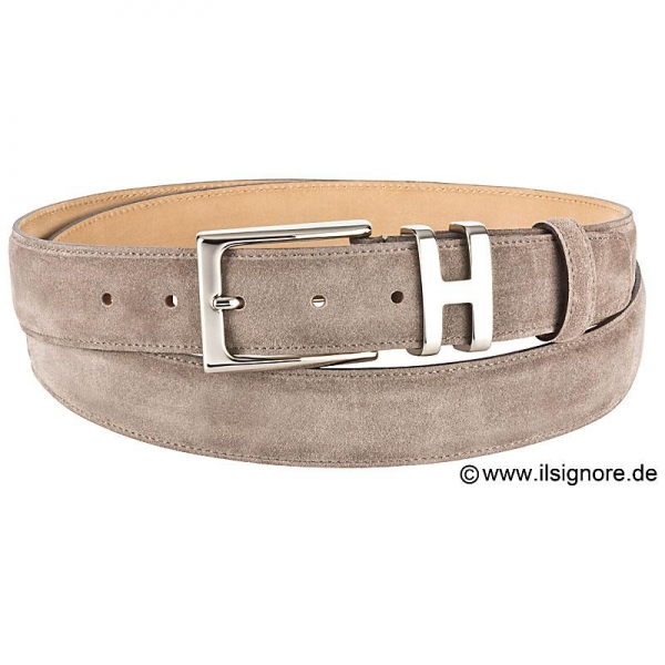 taupe suede belt by Handmacher