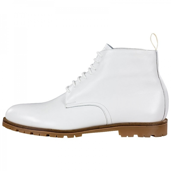 white leather boots by Handmacher