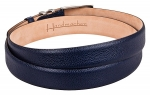 Leather belt scotch grain blue