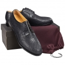 Woven leather shoes in black calfskin