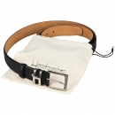 Black buffalo leather belt