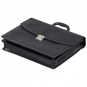 Black leather bag by Handmacher