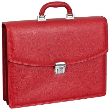 Red scotch grain leather bag