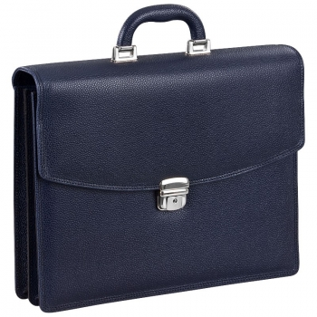 Blue scotch grain leather bag