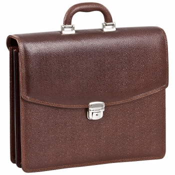 Mocha brown scotch grain leather bag