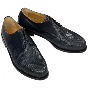 Handwoven leather shoes for men navy blue