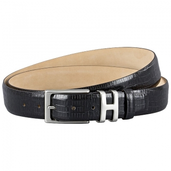 Black leather belt in reptile look