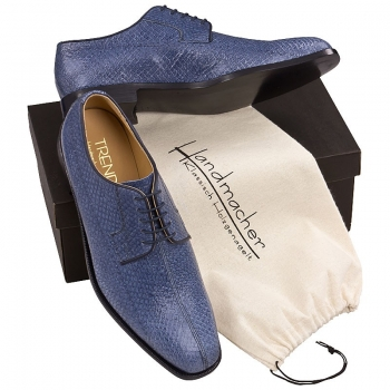 Handmacher model 80 salmon leather blue