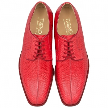 red salmon leather shoes by Handmacher