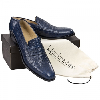 Handmacher model 86 ostrich leather look blue