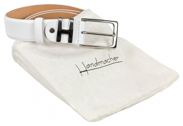 Handmacher white leather belt