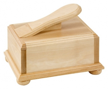 Beechwood shoe shine box with sliding lid
