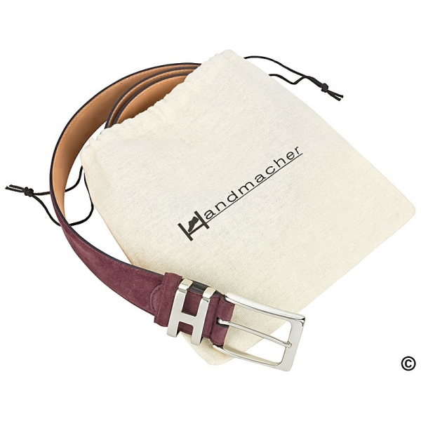 Handmacher red suede belt