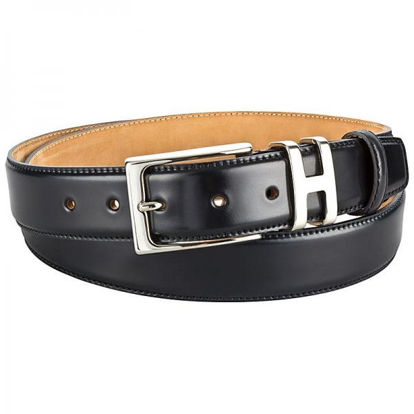 Black shell cordovan belt by Handmacher