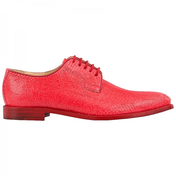 Handmacher red salmon leather shoes